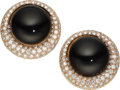 Estate Jewelry:Earrings, Diamond, Black Onyx, Rose Gold Earrings. ...