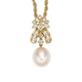 Estate Jewelry:Pendants and Lockets, Diamond, Freshwater Cultured Pearl, Gold Pendant-Necklace . ...