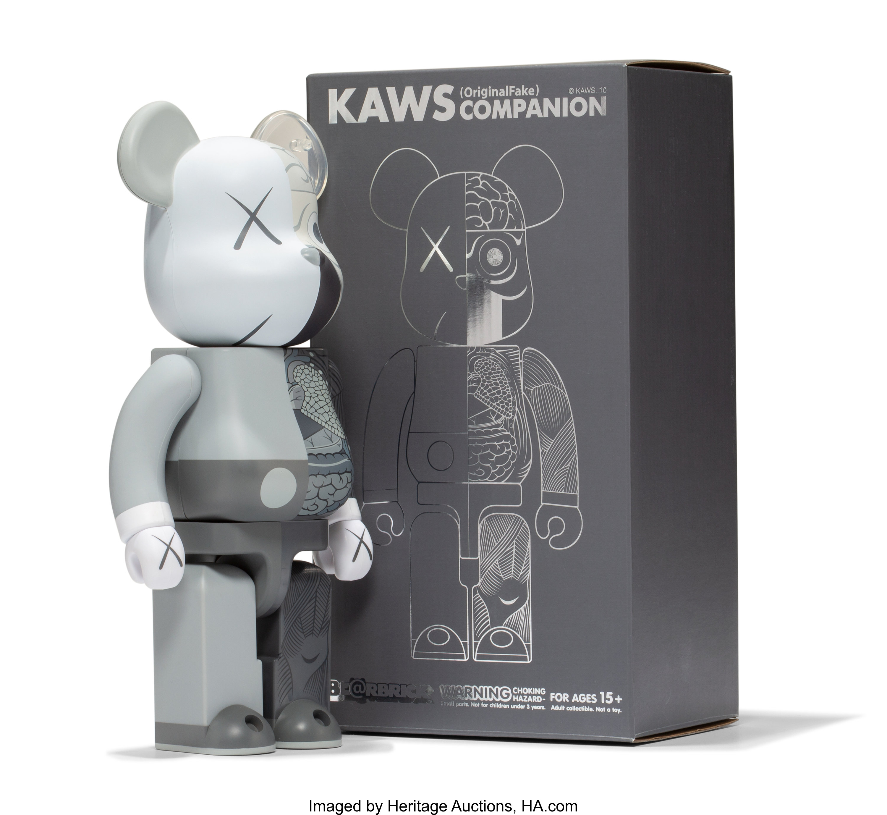 0b73b62092e KAWS X BE@RBRICK. Dissected Companion 400% (Grey), 2010. Painted ...