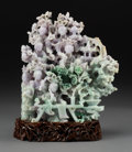 Asian:Chinese, A Chinese Carved Jadeite Meiren Group on Hardwood Stand, 20thcentury. 9-1/8 h x 8-1/8 w x 2-5/8 d inches (23.2 x 2...