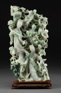 Asian:Chinese, A Chinese Carved Jadeite Immortals and Attendants Group on HardwoodStand, 20th century. 13-1/4 h x 6-3/4 w x 1-7/8...