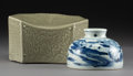 Asian:Chinese, A Chinese Decorated Celadon Glazed Porcelain Pillow Box with Blueand White Porcelain Beehive Water Pot. 4-3/4 h x 8-1/8 w x...(Total: 2 Items)