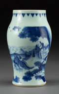 Asian:Chinese, A Chinese Blue and White Ovoid Vase, early Qing Dynasty. 7 incheshigh (17.8 cm). ...