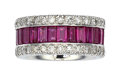 Estate Jewelry:Rings, Ruby, Diamond, White Gold Eternity Band. ...