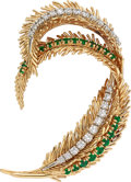 Estate Jewelry:Brooches - Pins, Diamond, Emerald, Platinum, Gold Clip-Brooch, French. ...