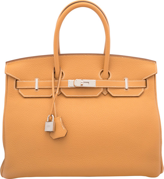 308386be15 Hermes 35cm Sable Clemence Leather Birkin Bag with