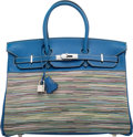 "Luxury Accessories:Bags, Hermes 35cm Blue Roi Swift & Vibrato Leather Birkin Bag with Palladium Hardware. F Square, 2002. Condition: 3. 14""..."