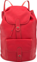 """Luxury Accessories:Bags, Hermes Rouge Garance Buffalo Leather Sac a Dos Baden Backpack Bag with Gold Hardware. Condition: 4. 12"""" Width x 16"""" He..."""