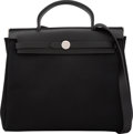 Luxury Accessories:Bags, Hermes 31cm Black Vache Hunter Leather & Black Officier CanvasHerbag PM Bag with Brushed Palladium Hardware. H Square,20...