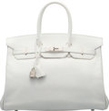 """Luxury Accessories:Bags, Hermes 35cm White Epsom Leather Birkin Bag with Palladium Hardware.L Square, 2008. Condition: 3. 14"""" Width x 9""""H..."""