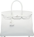 "Luxury Accessories:Bags, Hermes 35cm White Epsom Leather Birkin Bag with Palladium Hardware. R Square 2014. Condition: 1. 14"" Width x 10"" H..."