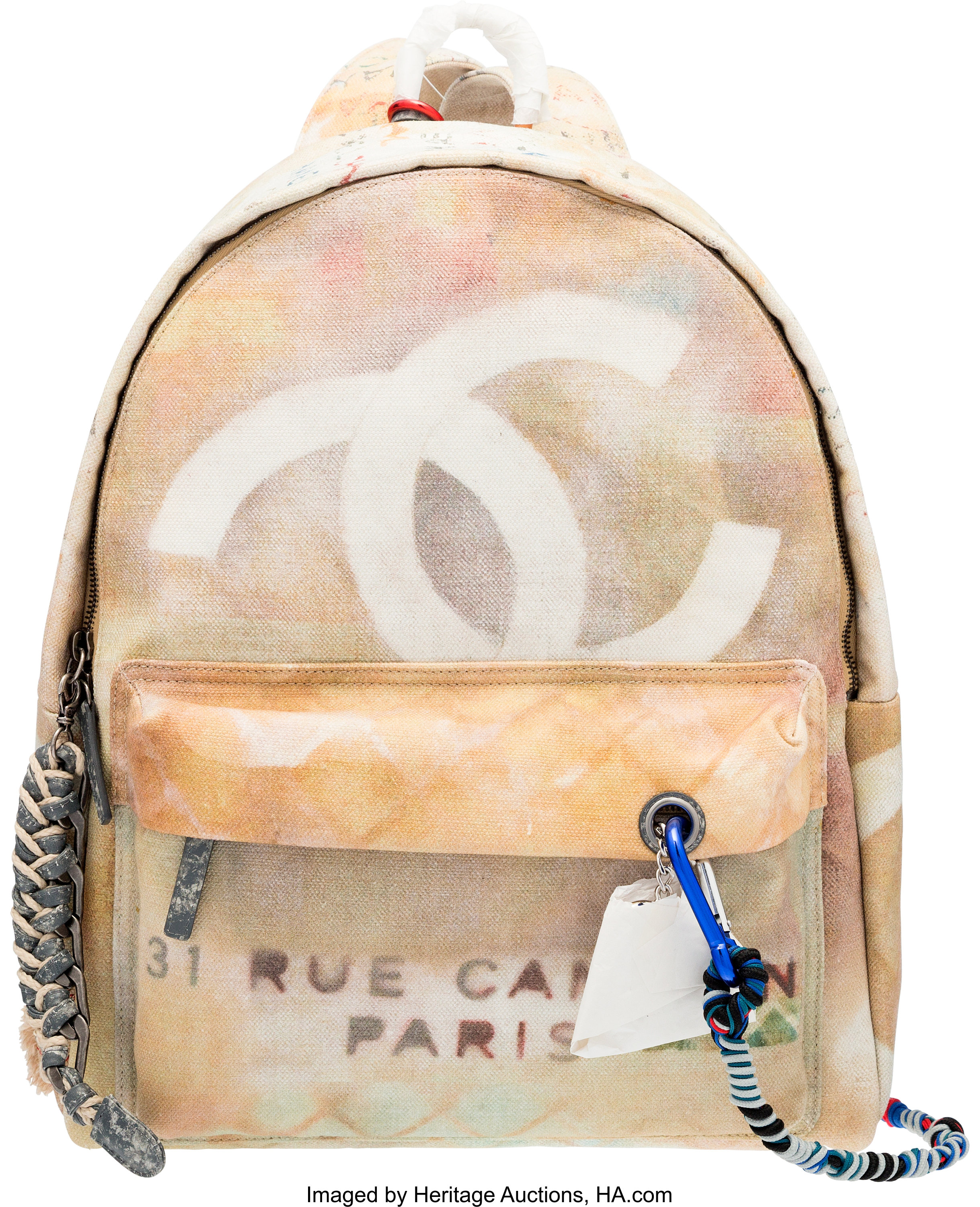 Chanel Runway Graffiti Art School Canvas Backpack Condition 1 Lot 58028 Heritage Auctions