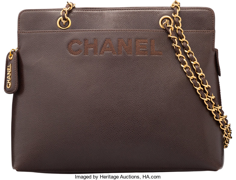 65b792a459af Luxury Accessories:Bags, Chanel Brown Caviar Leather Zippered Tote Bag. Condition  2.