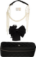 Luxury Accessories:Accessories, Chanel Set of Four: Jewelry Travel Case, Headband, Bow Pin & Dice. Condition: 1. See Extended Condition Report for Siz... (Total: 4 )