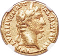 Ancients: Augustus (27 BC-AD 14). AV aureus (19mm, 7.82 gm, 7h). NGC VF 4/5 - 3/5, bankers mark