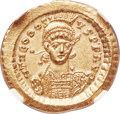Ancients:Roman Imperial, Ancients: Theodosius II (AD 402-450). AV solidus (21mm, 4.46 gm,6h). NGC Choice MS 5/5 - 5/5....