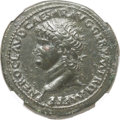 Ancients:Roman Imperial, Ancients: Nero (AD 54-68). AE sestertius (35mm, 26.02 gm,6h).NGC XF 5/5 - 2/5, smoothing....