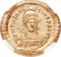 Ancients:Roman Imperial, Ancients: Theodosius II (AD 402-450). AV solidus (21mm, 4.48 gm,7h). NGC MS 5/5 - 4/5....