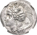 Ancients:Greek, Ancients: LUCANIA. Thurium. Ca. 300-280 BC. AR stater (23mm, 7.71 gm, 12h). NGC Choice AU ★ 5/5 - 4/5....