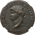 Ancients:Roman Imperial, Ancients: Nero (AD 54-68). AE sestertius (34mm, 27.51 gm, 6h).NGC Choice AU 4/5 - 4/5....