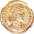 Ancients:Roman Imperial, Ancients: Constantius II (AD 337-361). AV solidus (22mm, 4.37 gm, 12h). NGC Choice AU 5/5 - 3/5, Fine Style, scuff....
