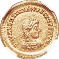 Ancients:Roman Imperial, Ancients: Valentinian II (AD 375-392). AV solidus (21mm, 4.47 gm, 5h). NGC MS 5/5 - 4/5....