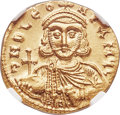 Ancients:Byzantine, Ancients: Leo III and Constantine V (AD 720-741). AV solidus (20mm,4.49 gm, 7h). NGC MS 5/5 - 4/5, lt. marks....
