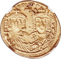 Ancients:Byzantine, Ancients: Constantine VI and Irene (AD 780-797), with Leo III,Constantine V, and Leo IV. AV solidus (21mm, 4.45 gm, 6h). NGCChoice XF ...