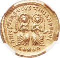 Ancients:Byzantine, Ancients: Justin I and Justinian I (April-August AD 527). AV solidus (20mm, 4.48 gm, 6h). NGC AU 5/5 - 3/5, scuff....