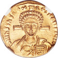 Ancients:Byzantine, Ancients: Justinian II Rhinotmetus, second reign (AD 705-711). AVsolidus (19mm, 4.49 gm, 6h). NGC MS 4/5 - 5/5....