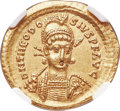 Ancients:Roman Imperial, Ancients: Theodosius II (AD 402-450). AV solidus (21mm, 4.41 gm,6h). NGC AU 5/5 - 4/5....