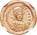 Ancients:Roman Imperial, Ancients: Theodosius II (AD 402-450). AV solidus (21mm, 4.45 gm,7h). NGC MS 5/5 - 4/5....