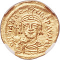 Ancients:Byzantine, Ancients: Maurice Tiberius (AD 582-602). AV solidus (21mm, 4.39 gm,6h). NGC MS 5/5 - 4/5, edge marks....