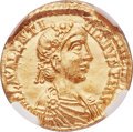 Ancients:Roman Imperial, Ancients: Valentinian III, Western Roman Emperor (AD 425-455). AVsolidus (21mm, 4.50 gm, 1h). NGC MS 5/5 - 3/5....