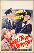"Movie Posters:Comedy, The Midnight Patrol (LER, R-1950s). Belgian (14.25"" X 22.25"").Comedy.. ..."