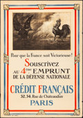 "Movie Posters:War, World War I French Propaganda (Devambez, 1918). 4th NationalDefense Loan Poster (31"" X 45"") ""For France to be Victorious!"" ..."