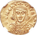 Ancients:Byzantine, Ancients: Tiberius III Apsimar (AD 698-705). AV solidus (20mm, 4.41 gm, 5h). NGC MS 4/5 - 3/5, clipped....
