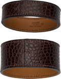 Luxury Accessories:Accessories, Hermes Set of Two: Havane Alligator Jack Bracelets. Condition: 1. See Extended Condition Report for Sizes . ... (Total: 2 Items)
