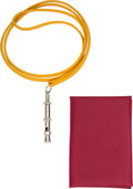 Luxury Accessories:Accessories, Hermes Set of Two: Rouge Grenat Calvi & Jaune Dog Whistle. O Square, 2011. Condition: 1. See Extended Condition Re... (Total: 2 Items)