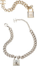 """Luxury Accessories:Accessories, Chanel Set of Two: Silver Lock Necklace & Light Gold and Silver Lock Bracelet. Condition: 3. 19"""" Length. 8.5"""" Leng... (Total: 2 Items)"""