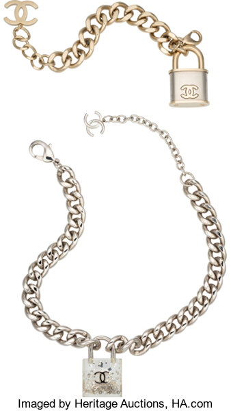 Chanel Set of Two: Silver Lock Necklace & Light Gold and Silver