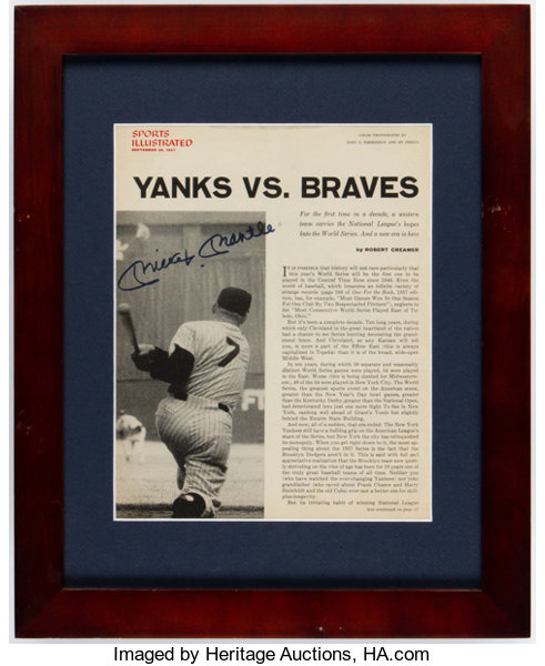 Mickey Mantle Signed Framed Magazine Page.... Autographs Photos ...