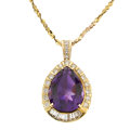 Estate Jewelry:Pendants and Lockets, Amethyst, Diamond, Gold Pendant-Necklace. ...