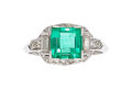 Estate Jewelry:Rings, Emerald, Diamond, Platinum Ring, Kobrin Bros.. ...