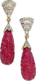 Estate Jewelry:Earrings, Ruby, Diamond, Gold Earrings . ...