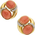 Estate Jewelry:Earrings, Coral, Diamond, Gold Earrings. ...