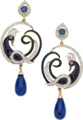 Estate Jewelry:Earrings, Diamond, Multi-Stone, Enamel, Gold Earrings . ...