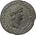 Ancients:Roman Imperial, Ancients: Nero (AD 54-68). AE sestertius (36mm, 27.95 gm,6h). NGC XF 5/5 - 2/5....