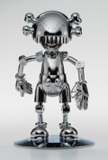 Sculpture, KAWS X Hajime Sorayama. No Future Companion (Silver Chrome), 2008. Metallized plastic. 12-5/8 x 7-7/8 x 7-7/8 inches (32...