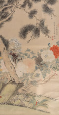 Asian:Chinese, Chinese School (19-20th Century). Chrysanthemum and PineTrees. Ink, color, and gouache on silk. 40-1/4 x 21-3/8 inches...